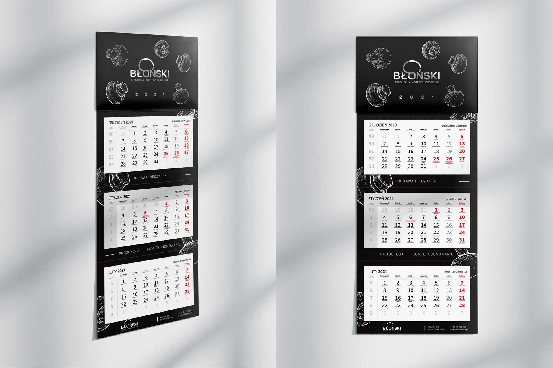 Błoński– Kalendarz 3-dzielny 2021