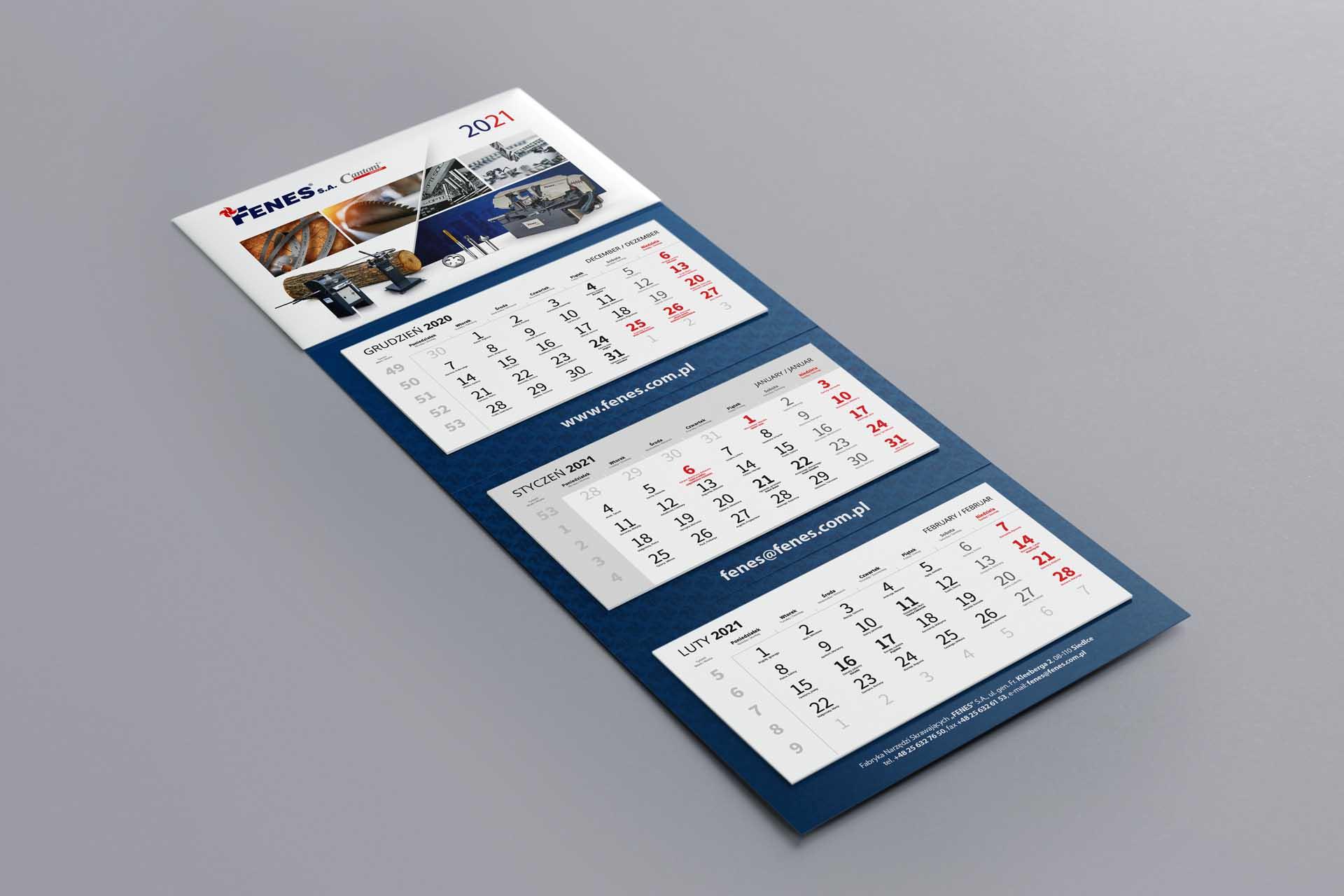 Fenes S.A. - Kalendarz 3-dzielny 2021