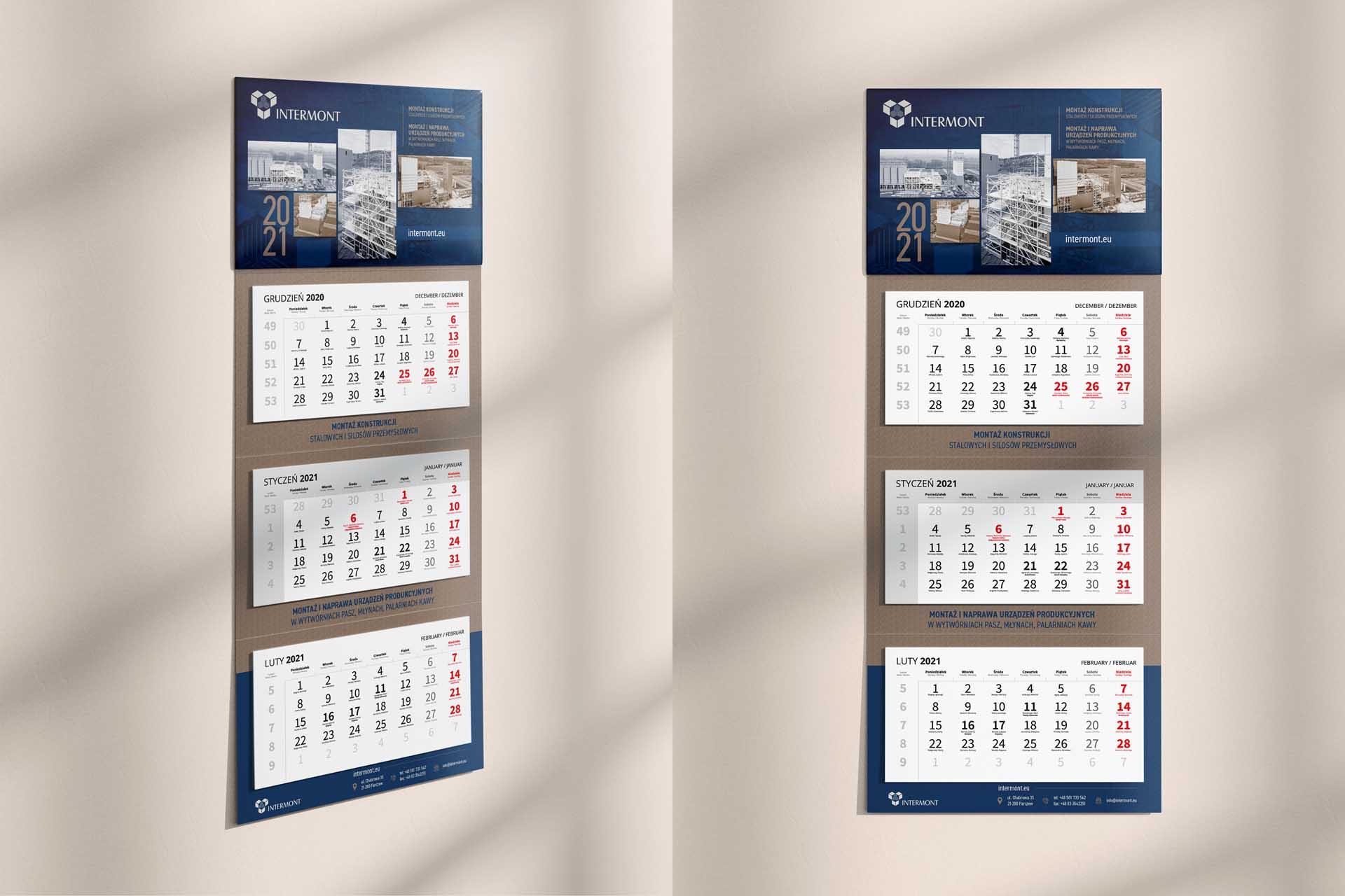 Intermont – Kalendarz 3-dzielny 2021