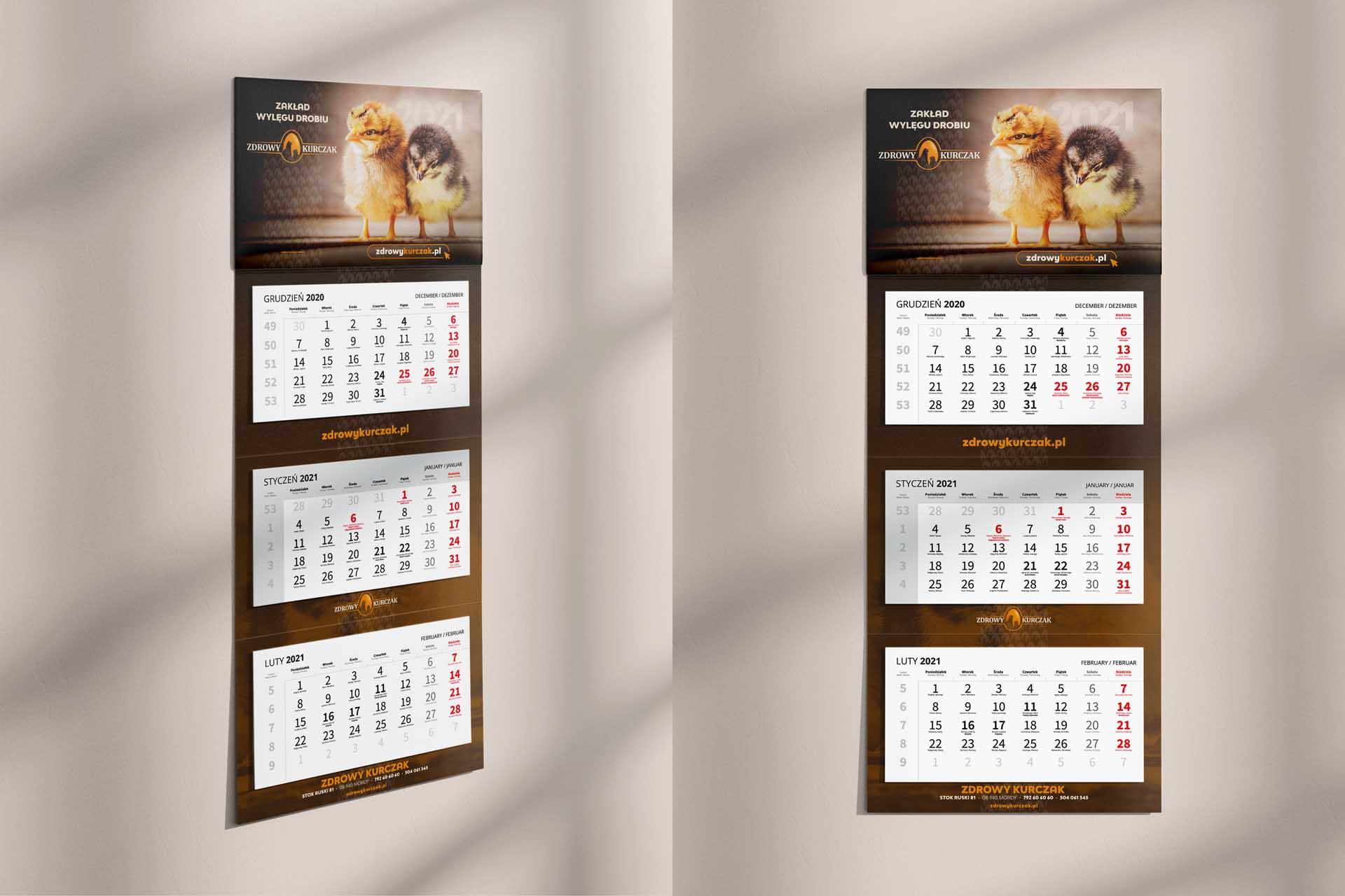 Zdrowy Kurczak - Kalendarz 3-dzielny 2021